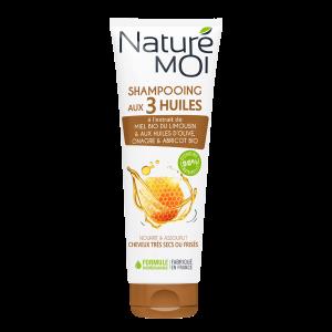 NaturéMoi Shampoing aux 3 huiles, cheveux très secs ou frisés
