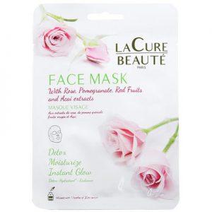 La Cure Beauté Masques en tissu hydratants – Rose – Visage – 3 unités