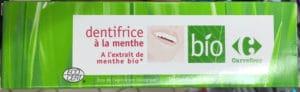Dentifrice à la menthe à l'extrait de menthe bio