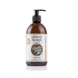 Le Savon Noir Liquide Corporel. Parfum Fleur d'Oranger. Surgras. 500ML